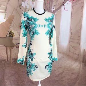 ASOS Teal Ivory Floral Dress Beaded Collar